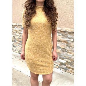 Mustard Yellow high neck knit minibdress